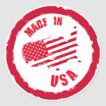 Made in USA rubber stamp design Round Stickers