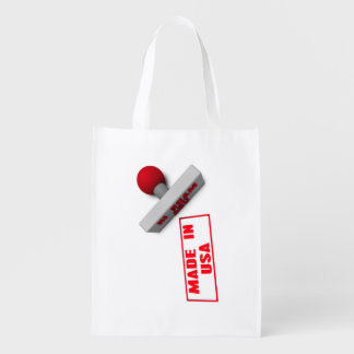 Made in USA Stamp or Chop on Paper Concept in 3d Grocery Bag