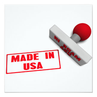 Made in USA Stamp or Chop on Paper Concept in 3d Invitation