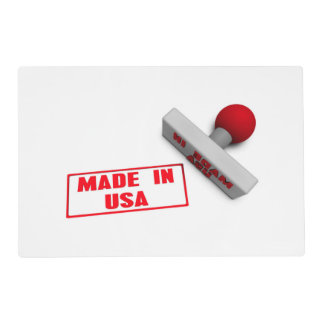 Made in USA Stamp or Chop on Paper Concept in 3d Laminated Placemat