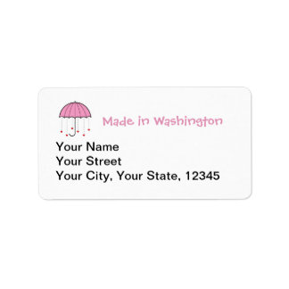 Made In Washington - Umbrella with Hearts (Pink) Label