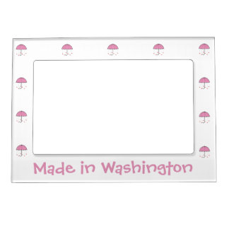Made In Washington - Umbrella with Hearts (Pink) Magnetic Photo Frame