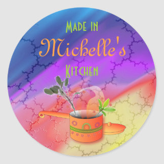 """Made in Your Kitchen"" Multicolored Template Classic Round Sticker"