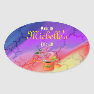 """Made in Your Kitchen"" Multicolored Template Oval Sticker"