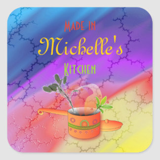 """Made in Your Kitchen"" Multicolored Template Square Sticker"