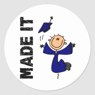 MADE IT Stick Figure Graduation Classic Round Sticker