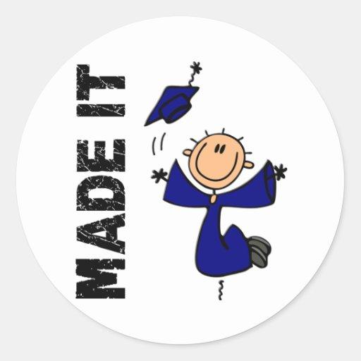 MADE IT Stick Figure Graduation Round Sticker