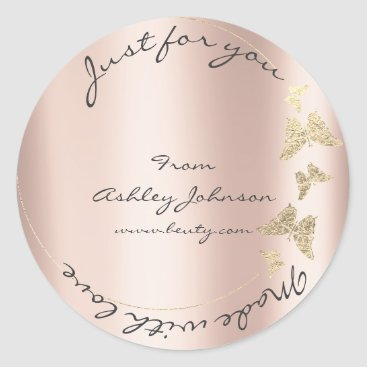 Made Love For You Name Butterfly Powder Rose Gold Classic Round Sticker