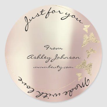Made Love For You Name Butterfly Rose Gold Pearly Classic Round Sticker