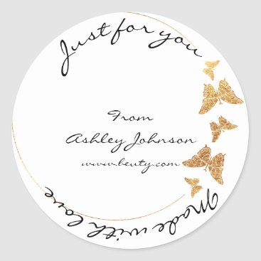 Made Love For You Name Butterfly White Gold Classic Round Sticker