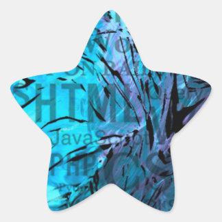 made of words,computer blue star sticker