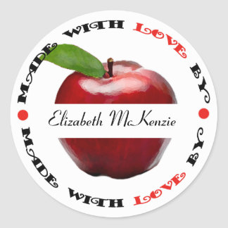 Made with Love Apple Classic Round Sticker