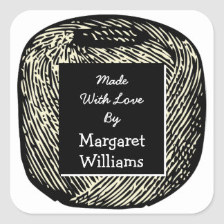 Made With Love Black and White Ball of Yarn Square Sticker