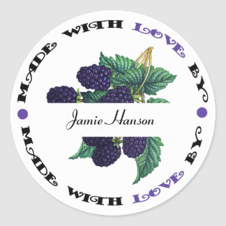 Made with Love Blackberry Classic Round Sticker