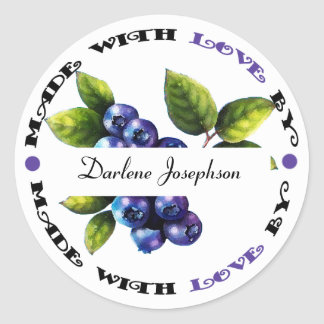 Made with Love Blueberry Classic Round Sticker