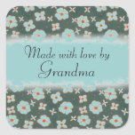Made with love by teal floral custom stickers