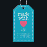 """Made With Love By You Gift Tags<br><div class=""""desc"""">A whimsical,  personalized tag for all your handmade items.</div>"""