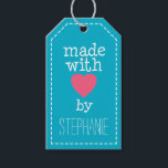 "Made With Love By You Gift Tags<br><div class=""desc"">A whimsical,  personalized tag for all your handmade items.</div>"