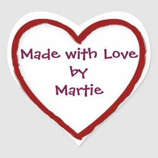 Made with Love by You - Heart Stickers