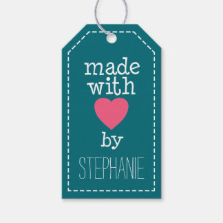Made With Love By You - hot pink and blue Pack Of Gift Tags