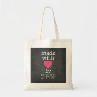 Made With Love By You - hot pink and chalkboard Budget Tote Bag