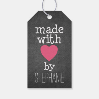 Made With Love By You - hot pink and chalkboard Pack Of Gift Tags