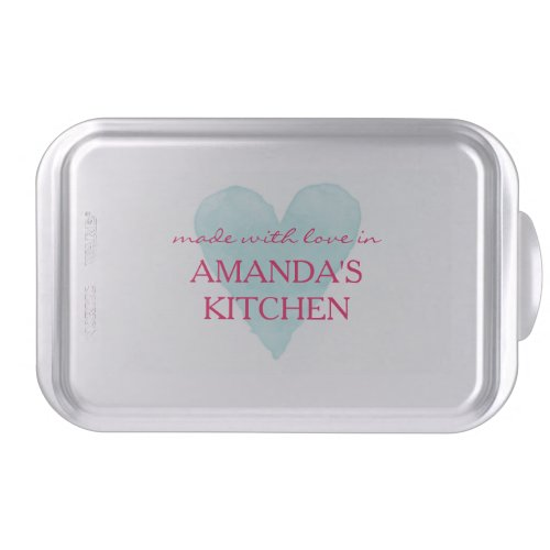 Made with love custom name heart baking cake pan