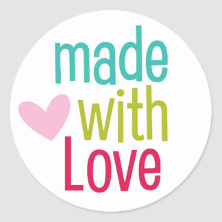 Made with Love cute heart saying sticker seals