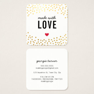 MADE WITH LOVE cute packaging confetti gold black Square Business Card