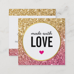 Cute business cards zazzle made with love cute packaging glitter gold pink square business card colourmoves