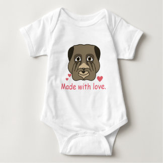 Made with love design. baby bodysuit