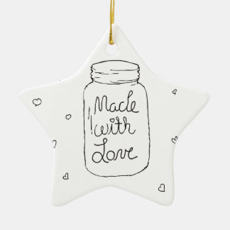 Made with Love Doodle Ceramic Ornament