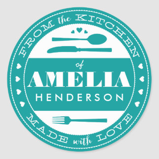 Made With Love Food Gift Sticker teal
