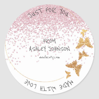 Made With Love For You Name Butterfly Gold Pink Classic Round Sticker
