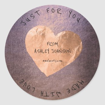 Valentines Themed Made With Love For You Name Pink Rose Gold Lilac Classic Round Sticker