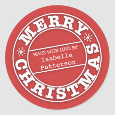 Made With Love From Merry Christmas Sticker at Zazzle