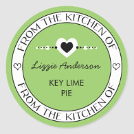 Made with Love From the Kitchen of Label | Green Stickers