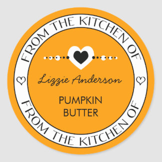 Made with Love From the Kitchen of Label | Orange Classic Round Sticker