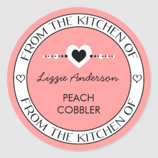 Made with Love From the Kitchen of Label | Pink Classic Round Sticker