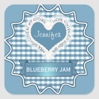 Made With Love Gingham Blue Square Sticker
