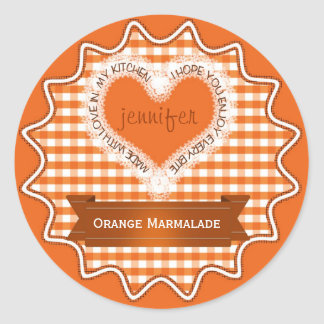 Made With Love Gingham Orange Stickers