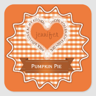 Made With Love Gingham Orange Square Sticker