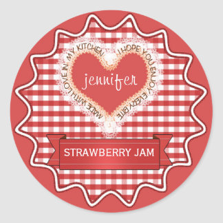 Made With Love Gingham Red Classic Round Sticker