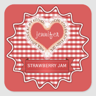 Made With Love Gingham Red Square Sticker