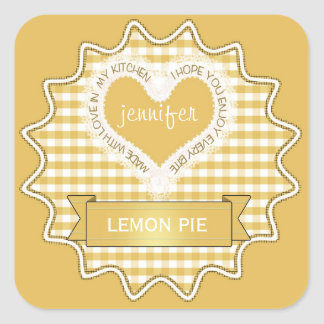 Made With Love Gingham Yellow Square Sticker