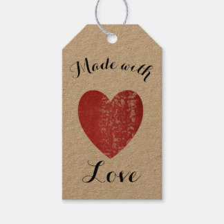 Made with Love Heart Stamp Crimson Red Gift Tags