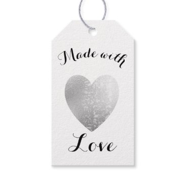 Professional Business Made with Love Heart Stamp Faux Silver Foil Gift Tags