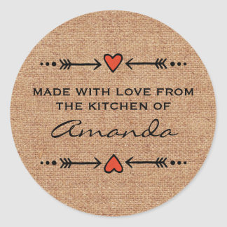 Made with Love Hearts Arrows Kitchen Burlap Classic Round Sticker