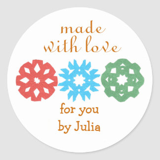 """""""Made With Love"""" holiday gift label Stickers"""