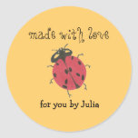 """""""Made With Love"""" label Classic Round Sticker"""